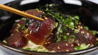 Marinated Fresh Tuna Bowl Recipe (Maguro Zukedon) | Cooking with Dog