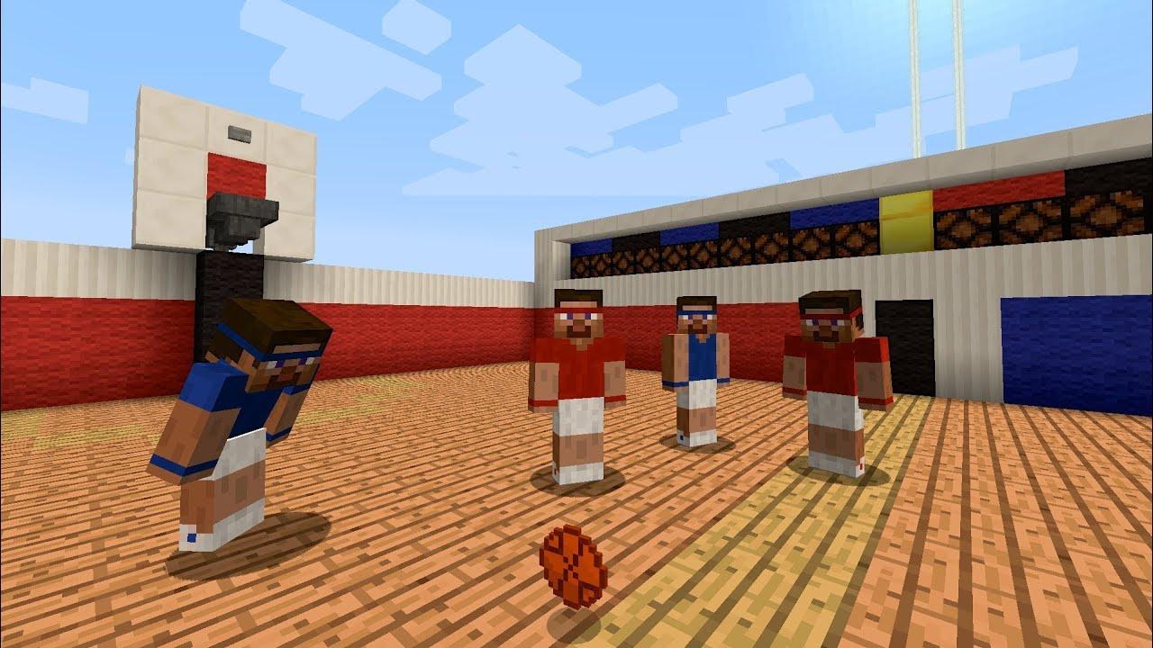 Go Pound The Rock On This Impressive Minecraft Basketball Court