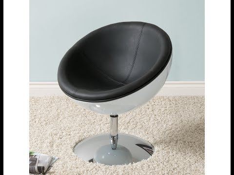Video for Mod Modern Bonded Leather Circular Chair, Black and White