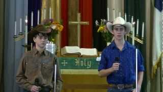 Hunter and Hagan Cook singing Me and God by Josh Turner at Grace UMC