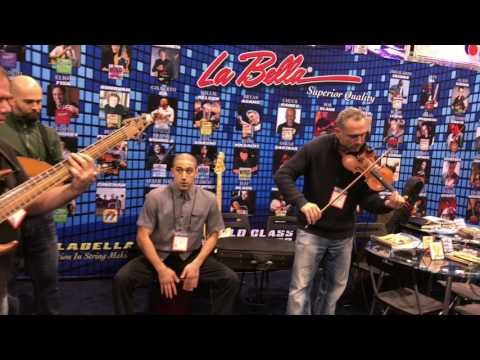 Performing at the LA BELLA STRINGS  booth (one of my string company endorsements) at NAMM 2017 , Anaheim Convention Center.