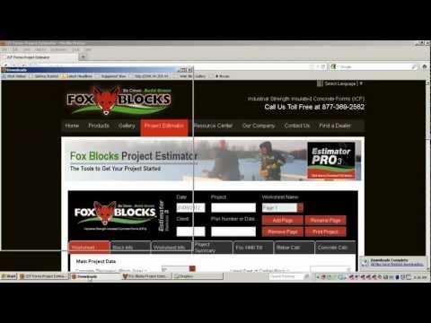 Fox Blocks Estimator Pro 3 Install Insulated Concrete Forms ICF.wmv