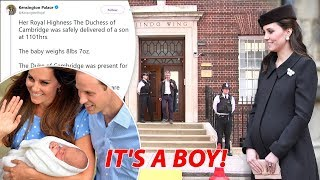 IT'S A BOY! Kate gives birth to baby boy weighing 8lb 7oz with Prince William