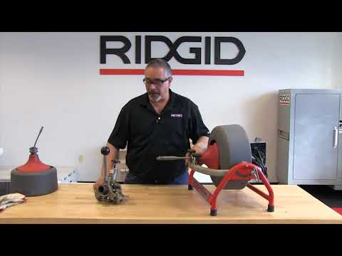 How to remove and reinstall the power feed on the RIDGID K3800 drum machine
