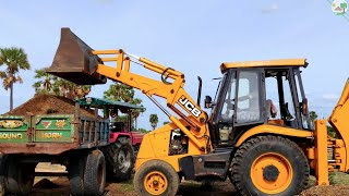Mahindra 595 di turbo Tractor with trolley | JCB 3DX Machine | JCB Video | Come To Village