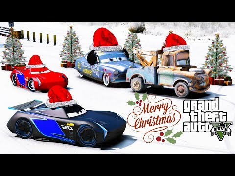 GTA 5 Disney Cars Christmas Racing Mod Jackson Storm Vs Doc Hudson Merry Christmas & Happy Holidays