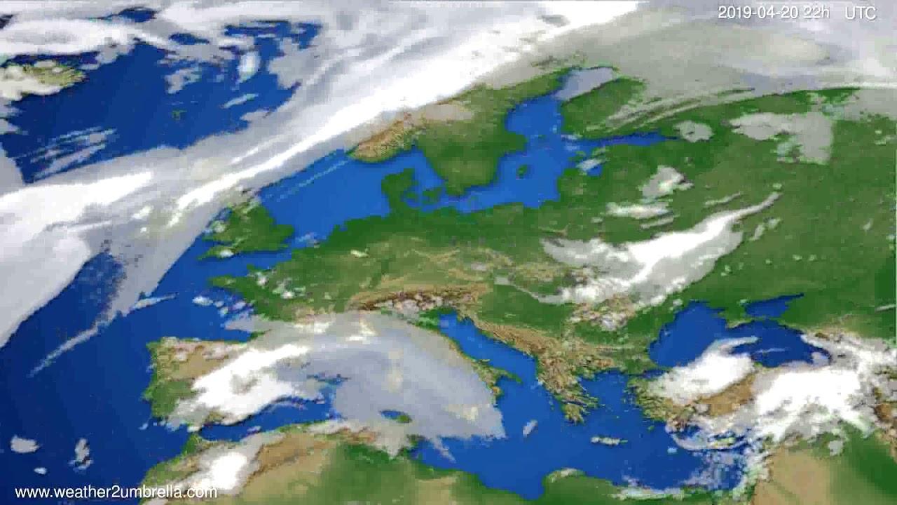 Cloud forecast Europe // modelrun: 12h UTC 2019-04-18