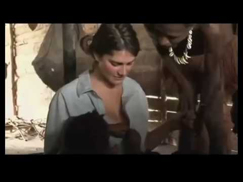 White Beautiful lady gets fully naked with african natives