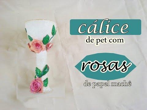 Taça de pet com rosas machê