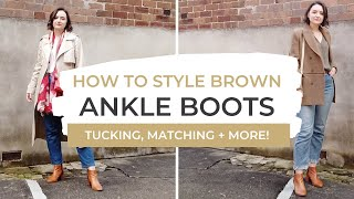 How To Style Brown Ankle Boots | + Black & Printed Boots With Jeans! LOOKBOOK
