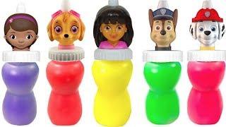 Learn Colors with Paw Patrol Dora Doc McStuffins Slime Surprise  Colours | Fizzy Fun Toys