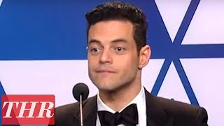 Oscar Winner Rami Malek Full Press Room Speech | THR