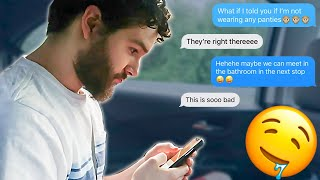 Sending DIRTY TEXTS To My Boyfriend With FAMILY AROUND!!! **hilarious Reaction**