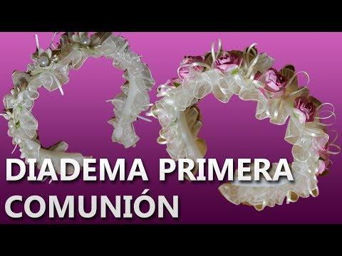 COMO HACER UNA DIADEMA PARA PRIMERA COMUNION   Manualidades primera comunion