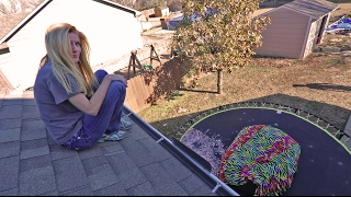 I MADE MY MOM JUMP OFF THE ROOF! (INSANE ROOF JUMPING)