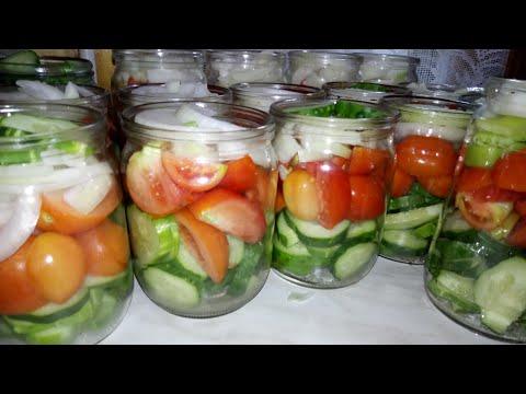 Салат из огурцов, помидор и лука на зиму. Ооочень вкусный салат.