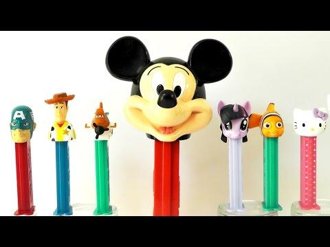 DISPENSADOR PEZ XXL GIGANTE Mickey + efecto dominó con Nemo Capitán América Hello Kitty Twilight