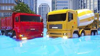 Wheel City Heroes (WCH) Dump Truck, Bulldozer, Loader Truck visiting Car Wash Sergeant Lucas Cartoon