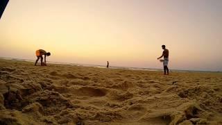 Playing Matkot at the beach