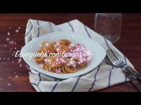 Espaguetis con langostinos al whisky