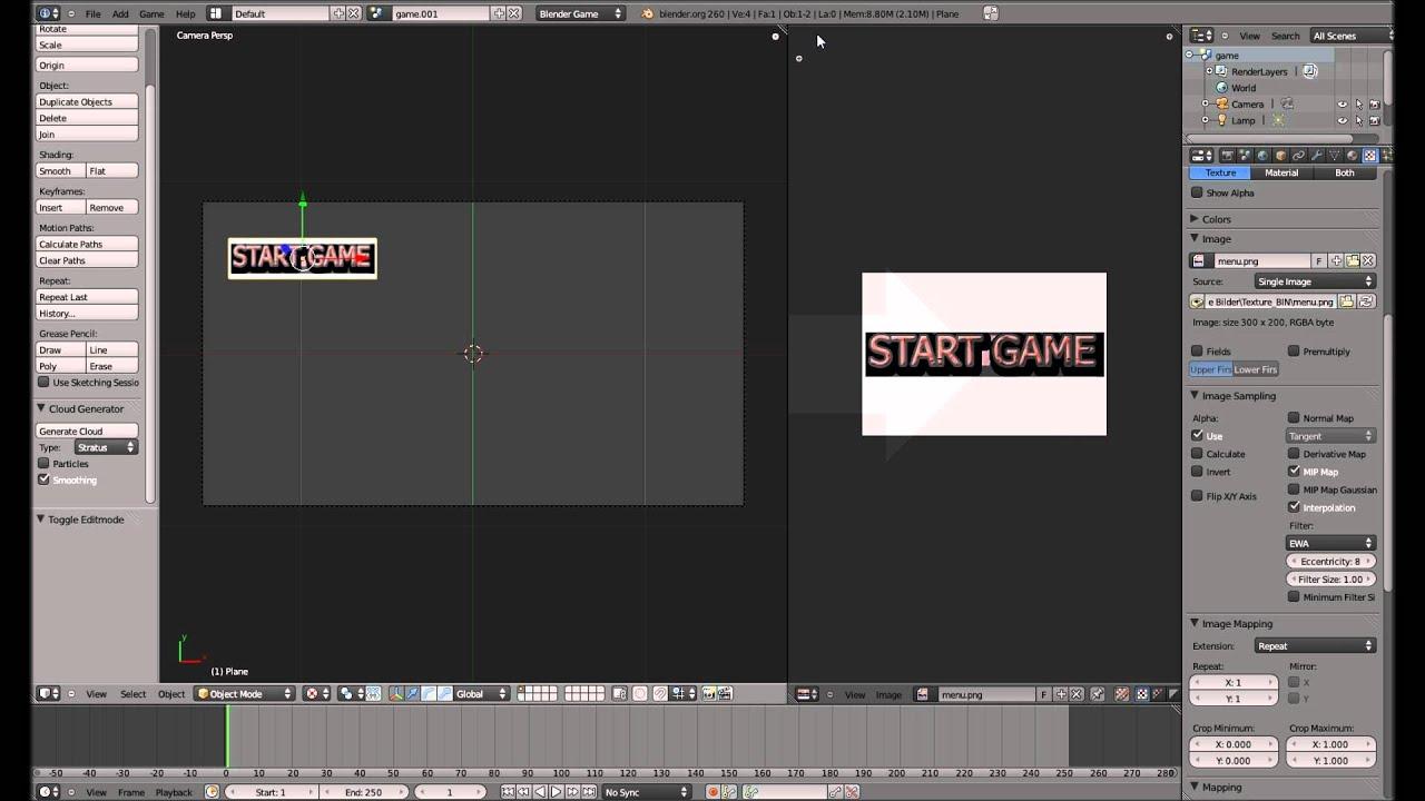 Menü - Blender 3D Game Engine Tutorial