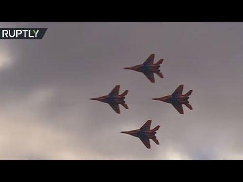 Russia's Strizhi aerobatic team perform at air show over Kazan