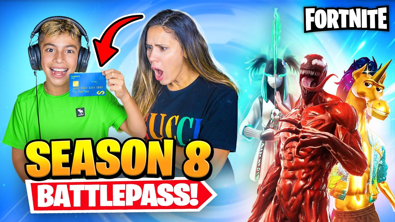 Purchasing Fortnite SEASON 8 BattlePass With mother'S CHARGE CARD !!|Royalty Video Gaming thumbnail