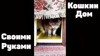 Кошкин дом Тёплый Дом Для кошки Дуськи СВОИМИ РУКАМИ Дом для бездомной уличной кошечки. Наши две кошки ее в дом не  пускают, скоро зима Сибирская. Мы с Любовь Геннадьевной  запилили благоустроенный, современный, просторный и теплый