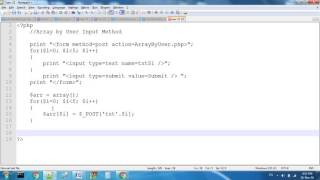 Array By User Input Method In PHP