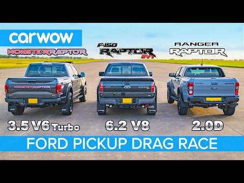 Ford F150 Raptor V6 Turbo vs F150 Raptor V8 SVT vs Ranger Raptor diesel - DRAG RACE & ROLLING RACE