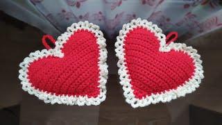 Crochet 3D hanging heart tutorial😍💝 💖 💗 💕