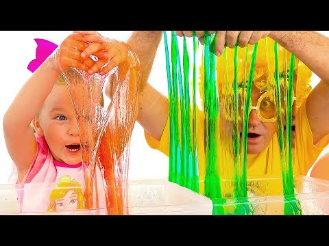 Milusik and Papa Making Slime with Funny Balloons | Satisfying Slime video