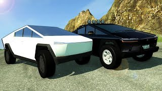 20 TESLA CYBERTRUCKS Race Down a Deadly Mountain! -  BeamNG Gameplay & Crashes
