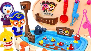 Let's go fishing~! Baby Sharks, play fishing with Pinkfong pirate ship~ | PinkyPopTOY