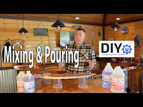 Epoxy Countertops DIY Tutorial: How To Mix & Pour Bar Top Epoxy Resin Self Levling