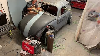 Widebody VW Bug gets ready for its K24 engine swap and we re-widen the hood!