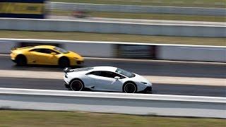 Lamborghini Aventador vs Huracan vs Gallardo vs Murcielago DRAG RACE Loud Sounds BullFest 2017