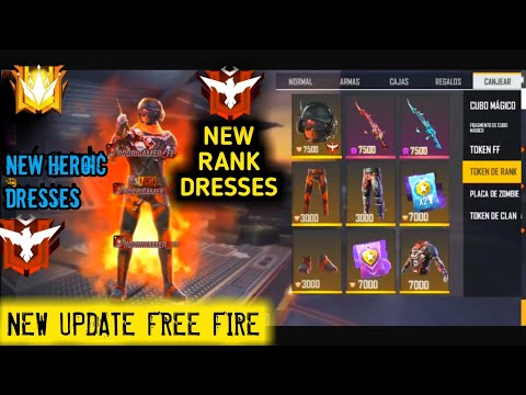 NEW RANK TOKENS DRESSES FREE FOR ALL FREE FIRE NEW UPDATE,FREE FIRE TSG ARMY