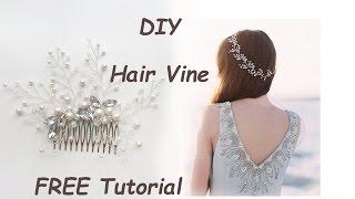 Very Easy DIY Bridal Hair Vine Comb Pin Tiara Tutorial Wire Beads Tocado Para El Cabello