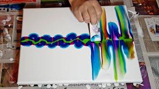 RIPPLE SWIPE Leftover Paint - Acrylic Pouring Techniques - Fluid Art