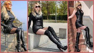 Latest Ladies Stylish Long Leather High Heel Boots Ideas