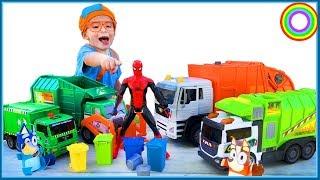 Garbage Trucks for Children with BLiPPi fan | Learn rubbish trucks | min min playtime