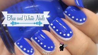 Easy Beginner Blue & White Nail Art By The Crafty Ninja