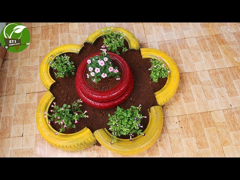 Creative garden | Recycling old tires into flower pots