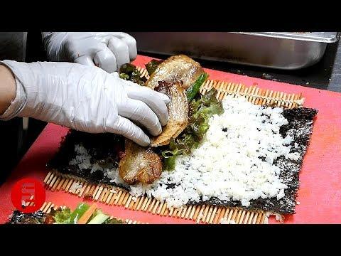 삼겹살 김밥 - 대구 서문야시장 / Pork belly Rice roll Gimbap