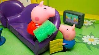 Видео про игрушки свинка Пеппа - День рождения мамы.