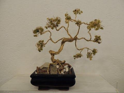 bonsai fai da te realizzato con ottone e pietre naturali