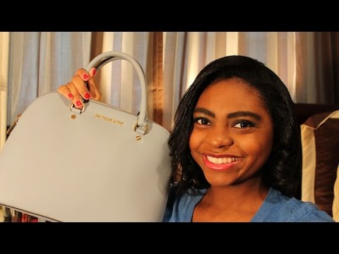What's In My Purse & Review: Michael Kors Cindy Large Dome Satchel   Summer Edition
