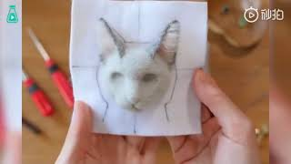 HOW TO MAKE 3d CAT NEEDLE FELT- A Process Of Making A Cat With Wool Felt