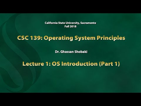 Operating Systems Lecture 1: OS Introduction (Part 1)